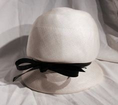 Vintage 60s Bubble Hat White with Black Patent by ProctorCreations