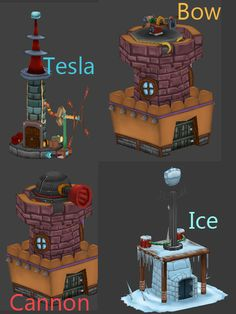Towers of my Tower Defense Game Defense Games, Tower Defense, Brass Band, Towers, Game Design, Weapon, Game Art, Modeling, Medieval