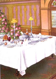 Old Fashioned Table Setting. From:  1861 Mrs. Beeton's Book of Household Management.  via Google Books  (PD-150)      suzilove.com