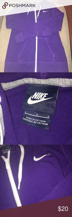 Nike zip up hoodie True purple Nike zip up hoodie. Worn once. No wear and no stains. Make an offer Nike Tops Sweatshirts & Hoodies