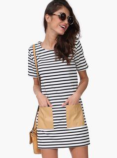 White and Black Short Sleeve PU Leather Pocket Dress