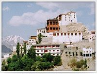 Situated 15 kms south of Leh towards Thiksey, the ruins of this former summer palace of the kings of Ladakh is perched high up on a rocky cliff. The 12 m Sakyamuni Buddha statue made of gold-plated copper by King Singge Namgyal's son Deldan Namgyal, is the largest in the area. There is a small library in the lower chapel and a collection of tangkhas.