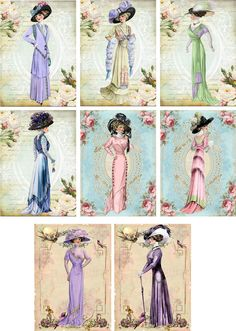 Vintage Inspired Fashion Ladies Tag Blank Small Card ATC Altered Art Set of 8 | eBay