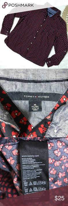 """Tommy Hilfiger Ditsy Floral Print Button Up Blouse Tommy Hilfiger Red Navy Ditsy Floral Print Button Down Cotton Blouse XL Career  *Good Used Condition. Slight signs of wear and wash (minor fading).  Measurements: 42"""" Bust 25"""" Length Tommy Hilfiger Tops Button Down Shirts"""