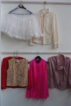 A Lot of Vintage Tops. To include a 1960's fuschia pink silk vanity top 'Labelled Riviera' with