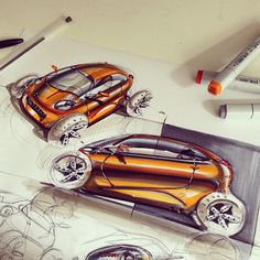 Car sketch with marker @lifeasfunder By Thomas Funder