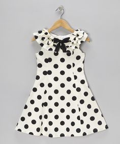 Take a look at this Black & Cream Polka Dot A-Line Dress - Girls on zulily today!