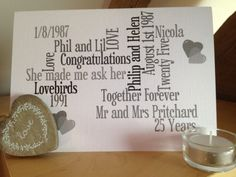 New to weheartcards on Etsy: Silver Wedding Anniversary - Keepsake Personalized Greetings Card - Celebrate 25 years of marriage - Marriage Milestones - WHC032 (9.97 GBP)