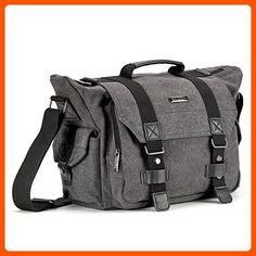SLR Camera Bag, Evecase Large Canvas Messenger SLR/DSLR Camera Bag with Rain Cover for Digital Cameras, Laptops and other Accessories - Gray - Photo stuff (*Amazon Partner-Link)
