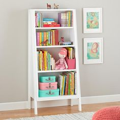 Graduated Tall Bookcase (White) | The Land of Nod