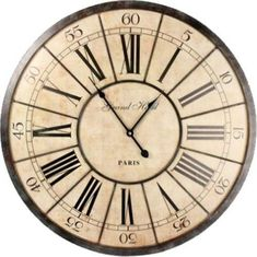 Roman Numeral Wall Clock ~ Grand Hotel Clock A fantastic design clock with a definite vintage feel to it that will enhance any room The clock features a distressed spoked metal framework which overlays an aged effect