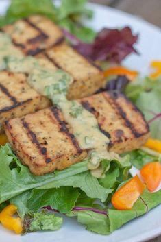 Grilled Lemon Basil Tofu by Eating Bird Food Tofu Recipes, Lemon Recipes, Real Food Recipes, Vegetarian Recipes, Vegan Meals, Yummy Healthy Snacks, Delicious Vegan Recipes, Healthy Salad Recipes, Healthy Eats