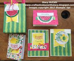 Stampin' Up! June 2017 Paper Pumpkin - One in a Melon; Stampin Up Paper Pumpkin, Pumpkin Cards, Stamping Up Cards, Rubber Stamping, One In A Melon, Scrapbook Cards, Scrapbooking, Paper Cards, Making Ideas