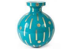 Design by JONATHAN ADLER Santorini Vase Hera - Porzellanvase in petrol glasiert - Akzente aus echtem Gold  - handgefertig