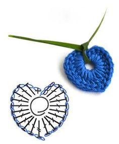 Pendant crochet mini-heart ♥LCH♥ with diagram --- Solo esquemas y diseños de…Simple Crochet Heart Chart -- pattern needs translation, but chart looks simple.-like the ribbon idea to make it into necklace Simple Crochet Heart ChartVery tiny hea Crochet Motifs, Crochet Diagram, Crochet Chart, Love Crochet, Diy Crochet, Crochet Flowers, Crochet Stitches, Crochet Patterns, Simple Crochet
