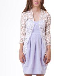 SALE - Katie scalloped floral english lace wedding jacket bridal ivory S M L CUSTOM