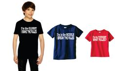 Funny set of 3 sibling shirts Oldest Middle and Youngest brother or Sister.  Only $35 for the set!