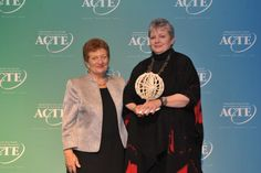 Sandra Hemmert, CTE Coordinator for Granite School District, receives the 2014 ACTE Carl Perkins Outstanding Service Award.