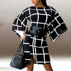 2016 New Arrival Fashion Flare Sleeve Plaid Print Loose Dress Sexy Women Elegant O Neck Knee Length Autumn Vestidos Dresses