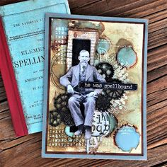 Masculine Card With Tim Holtz Stampers Anonymous Inventor I School Desk Sizzix Alterations Gear Head Mixed Media Alcohol Lift Ink by Sara Emily Barker 1 Scrapbook Journal, Scrapbook Cards, Tim Holtz, Timmy Time, Foto 3d, Paper Cards, Art Cards, Artist Trading Cards, Masculine Cards