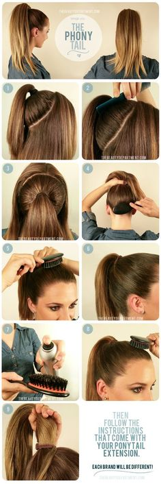 To get a fuller looking pony, gather hair at crown and wrap with hair tie, then do a second pony over it...The perfect Phony Ponytail Hairstyles, Diy Hairstyles, Pretty Hairstyles, Updos, Hair Ponytail, Simple Hairstyles, Braid Hair, Latest Hairstyles, Summer Hairstyles