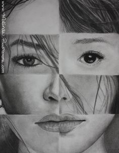 """One And The Same"" 'See' By Malinda Prudhomme $20.00 - Ethnic Art, Multiculturalism, Racism, Female Beauty, Asian Woman, Chinese Woman, Spanish Woman, Charcoal Drawing, Award Winning Art"