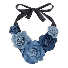 Denim Rose Bib Necklaces