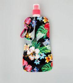 Black Floral Print Foldable Water Bottle