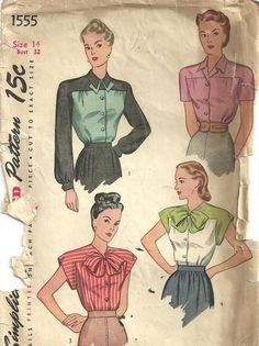 Simplicity 1555 Vintage Forties Sewing Pattern by studioGpatterns,