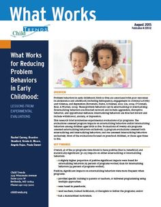 What Works for Reducing Problem Behaviors in Early Childhood: Lessons from Experimental Evaluations - Child Trends Foundation Stage, What Works, Kids Behavior, Early Education, Adolescence, Early Learning, Understanding Yourself, Early Childhood, Birth