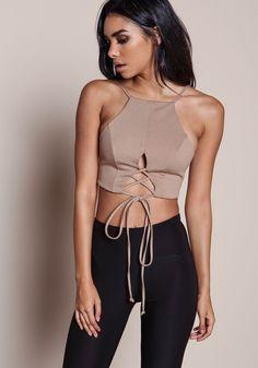 Mocha Plush Knit Lace Up Crop Top - LoveCulture.com