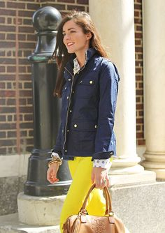 Jcrew field jacket, BR anchor blouse, BR yellow pants