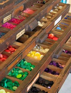 Button and bead storage in typecase drawers. How do you store your beads and buttons?