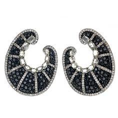 Black and White Diamond Scroll Earrings