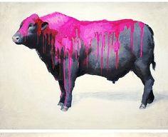 Painted Bull - oil on wood - x Memento Vivere, Pink Cow, High Art, Street Art Graffiti, Art World, Savannah Chat, Art Photography, Moose Art, Gallery