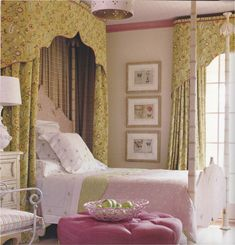 If you want to add drama and effect, start with the just the head of the bed.  Create a curtain of elegance and fun with floral pattern and shapes, and carry this whimsical theme to the window for a royal decor.