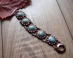 Handmace Copper Bracelet Turquoise Antique by CopperyArt on Etsy
