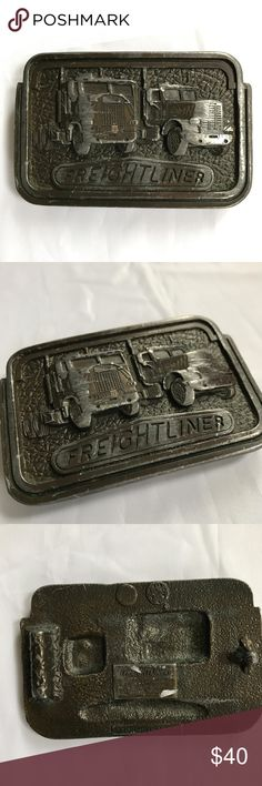 "Vintage 1980 Freightliner Truck Belt Buckle M-41 VINTAGE 1980 M-41 Freightliner Truck Company Belt Buckle Pewter Tonkin Inc Vtg  Awesome rare belt buckle! Heavy metal with 2 trucks on the front. Nice patina and wear.  Back is stamped with Freightliner trademark and date.  4""x 2.5""  Good condition. Back buckle clip is missing and bottom portion of clip holder is broken. Sold as-is.  Check out my Trixy Xchange Closet for more Mens Clothing! Tonkin Accessories Belts"