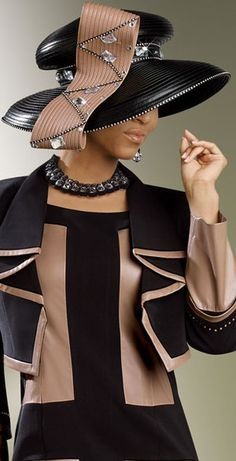 Church Dress Image detail for -Donna Vinci Couture 5396 Womens Black and Brown Church Suit Image detail for -Donna Vinci Couture 5396 Womens Black and Brown Church Suit Women Church Suits, Suits For Women, Clothes For Women, Church Attire, Church Fashion, Church Hats, Fancy Hats, Couture, Red Hats