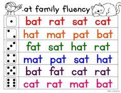Fluency Families Roll & Read {short vowels} by Miss Kindergarten Love Phonics Flashcards, Phonics Words, Phonics Worksheets, Reading Worksheets, Cvc Words, Kindergarten Reading Activities, Phonics Reading, Teaching Phonics, Literacy