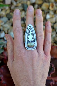 CUSTOM RING. Balance Due. Sterling Silver Pine Tree Ring. Turquoise and Sterling. Demali Turquoise. Tree roots.