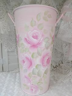 CHIC ROMANTIC ROSE BUCKET hp shabby cottage pail hand painted Victorian vintage    So Pretty and Available on EBAY!!  artist d.sommers