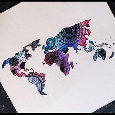 """World map art Original drawing of my own - Mandala water color and pen world map! 12""""x12"""" white stock paper. Small bend running along middle - barely visible :) will add picture of it need be. Other"""