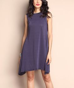 Navy Sidetail Shift Dress by Reborn Collection #zulily #zulilyfinds