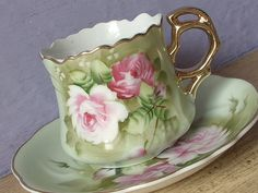 Antique Lefton green heritage tea cup and saucer, hand painted tea cup, pink…
