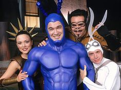 Inspiration for halloween costumes 2013.Jude as the Tick. Ophelia as Captain Liberty. But Liam and Mira? Who should be Bat Manuel and who should be Arthur?