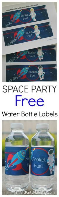 Free water bottle labels for a space themed birthday party. The kids will love these solar system labels which can be used on water or soda bottles. Easy to print and fantastic as party decoration for a space party theme.