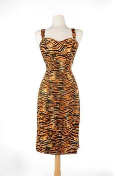b8480c31e Vamp Dress in Tiger Print - Plus Size Tiger Print Dress, Tiki Dress, Steady