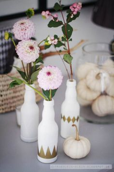 DIY vases, gold and white bud vases, centerpieces, wedding