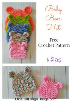 Fantastic Pictures Crochet baby hats Popular Baby Bear Hat 5 Sizes – Free Crochet Pattern – OkieGirlBling'n'Things Crochet Baby Hats Free Pattern, Bonnet Crochet, Crochet Baby Blanket Beginner, Crochet Baby Beanie, Crochet Gloves, Free Crochet, Crocheted Baby Hats, Crochet Preemie Hats, Booties Crochet